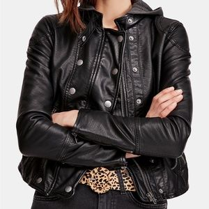 NEW Free People Black New Dawn Faux-Leather Jacket